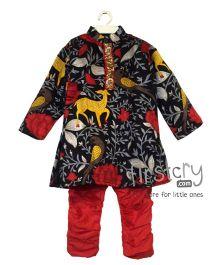 Mimosa Printed Kurta & Pajama Set - Black & Red