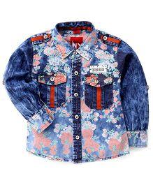 Noddy Original Clothing Denim Shirt Floral Print - Blue