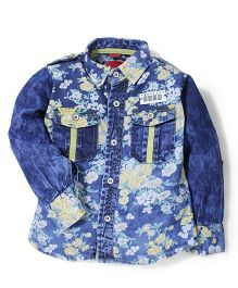 Noddy Original Clothing Denim Shirt Floral Print - Blue