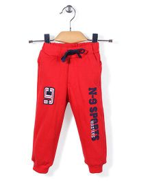 Noddy Original Clothing Solid Color Track Pant With Print - Red