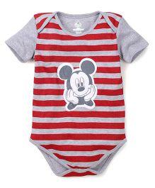 Disney by Babyhug Half Sleeves Onesie Mickey Print - Red and Grey