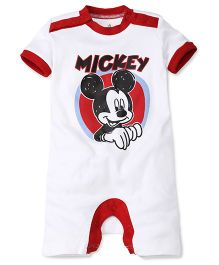 Disney by Babyhug Mickey Print Half Sleeves Rompers - White & Red