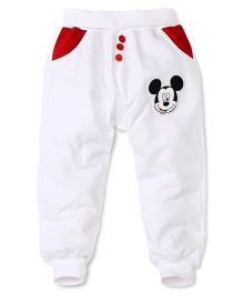 Disney by Babyhug Full Length Pajama With Mickey Patch - White