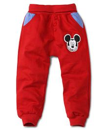 Disney by Babyhug Full Length Pajama With Mickey Patch - Red
