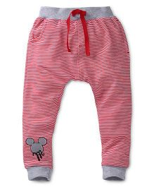 Disney by Babyhug Striped Leggings With Patch - Red