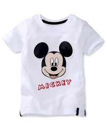 Disney by Babyhug Half Sleeves Mickey Face Print T-Shirt - White