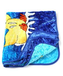 Babyhug 1 Ply Mink Blanket Dancing Duck Printed - Blue