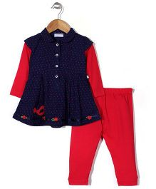 Peppermint Full Sleeves Frock With Leggings Bird Embroidery - Red Navy