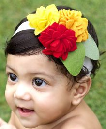 D'chica Felt Flower Cluster Headband - Multicolour
