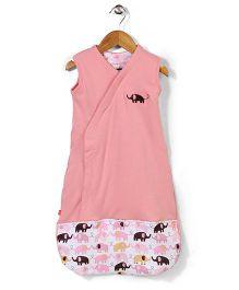 Magnificent Baby Elephant Print Sleeping Bag - Pink