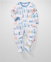 Magnificient Baby Romper - White & Blue