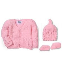 Rich Handknits Sweater Cap And Booties Set - Pink