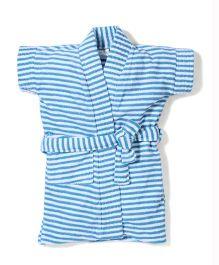 Babyhug Half Sleeves Stripe Bathrobe - Teal Blue