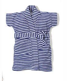 Babyhug Half Sleeves Stripe Bathrobe - Navy