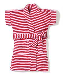Babyhug Half Sleeves Stripe Bathrobe - Red