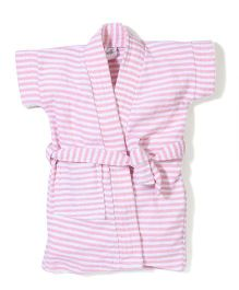 Babyhug Half Sleeves Stripe Bathrobe - Pink