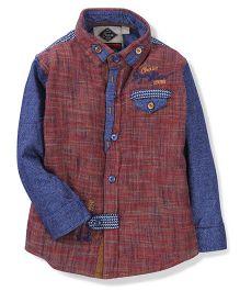 Chase 1998 Print Shirt - Maroon & Blue