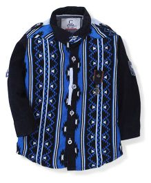 Chase Attractive Brush Print Shirt - Royal Blue