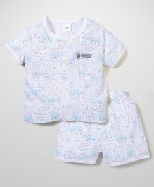ToffyHouse Short Sleeves Night Suit Allover Print - White
