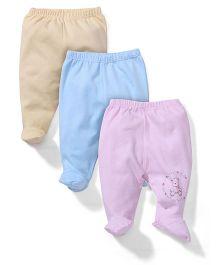 Zero Bootie Leggings Bear Print Set Of 3 - Cream Blue Purple
