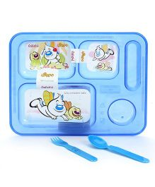 Pratap Ultra Transparent Plate With 5 Compartment - Blue