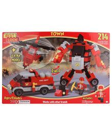 Best Lock Fire Fighter Robot Construction Game Set - 214 Pieces