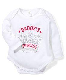 Babyhug Full Sleeves Onesies Daddy's Princess Print - White