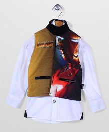 Finger Chips Shirt With Waist Coat Party Wear - White & Yellow