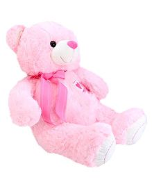 Dimpy Stuff Teddy Bear With Bow Lace Pink - 50 cm
