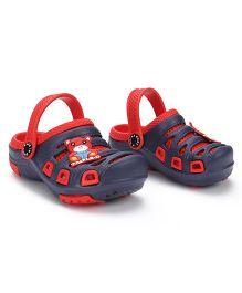 Cute Walk Clogs Bear Motif - Red & Navy Blue