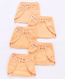 Babyhug U Shape Reusable Muslin Nappy Set Lace Medium Pack Of 5 - Peach