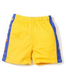 Chhota Bheem Side Stripes Printed Swim Trunks Shorts - Yellow & Blue