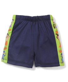 Chhota Bheem Side Stripes Printed Swim Trunks Shorts - Navy Blue & Green