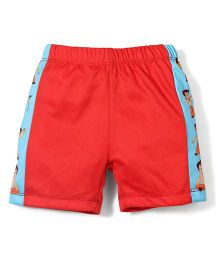 Chhota Bheem Side Stripes Printed Swim Trunks Shorts - Red & Blue