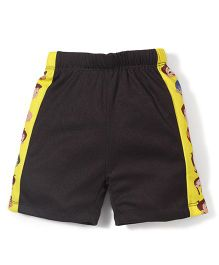 Chhota Bheem Side Stripes Printed Swim Trunks Shorts - Black & Yellow