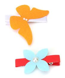 Chotee Alligator Clip Combo With Flower & Butterfly - Multicolour