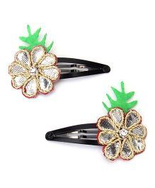 Chotee Indian Gota Patty Snap Clips Pack of 2 - Silver Green