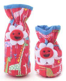 1st Step Bottle Cover Pack of 2 Giraffe Print - Red