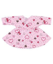 Dear Tiny Baby Long Sleeves Heart Print Wrap Dress - Pink
