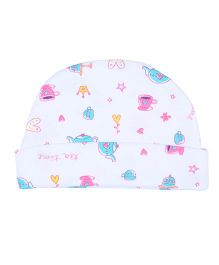 Dear Tiny Baby Printed Cap - White