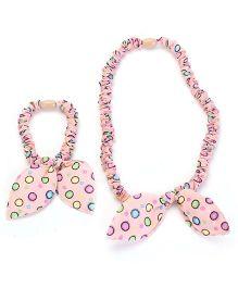 Stol'n Hair Band And Hair Bow Dot Print - Pink