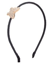 Stol'n Rhinestone Studded Butterfly Motif Hairband -  Black