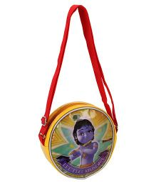 Little Krishna Round Cross Sling Bag - Red And Yellow