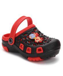 Cute Walk Clogs Squirrel Applique - Black Red