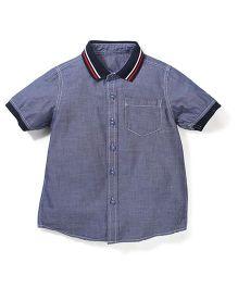Mothercare Half Sleeves Rib Collar Shirt - Navy Blue