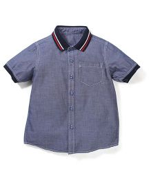 Mothercare Half Sleeves Rib Collar Shirt - Navy Blue