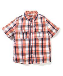 Mothercare Short Sleeves Checks Shirt - Orange And Blue