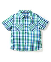 Mothercare Short Sleeves Shirt Mini Gingham Checks - Blue & Green