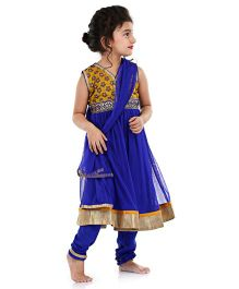 Babyhug Sleeveless Kurti Churidar With Dupatta - Dark Blue