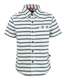 Bells and Whistles Striped Half Sleeves Casual Shirt - White